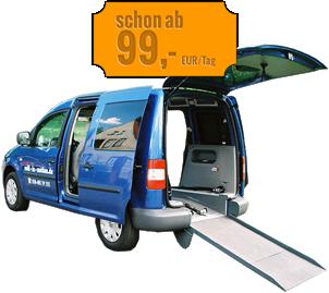 Rollstuhlgerechte Mietwagen Berlin VW Caddy